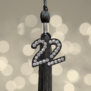 black tassel with shadow 22 charm in-layed with rhinestones
