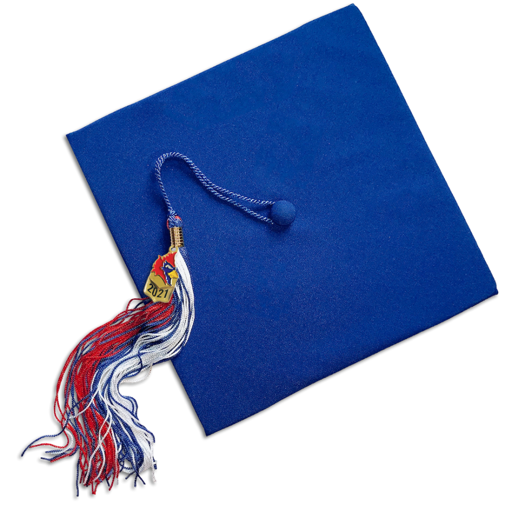 Graduation Cap with Red, White and Blue Cardinal Tassel