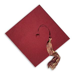 maroon graduation cap and tassel