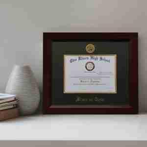 Diploma frame displayed on a shelf