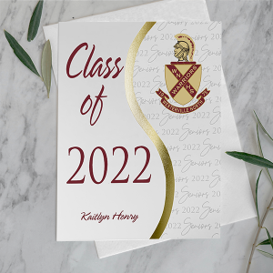 graduation announcement on marble background