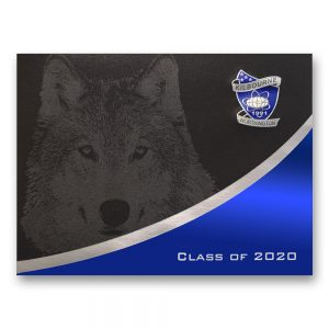black graduation announcement with silver ink wolf, blue and silver foil crest, and Class of 2020 Design