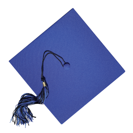 Blue graduation cap with a blue and black tassel