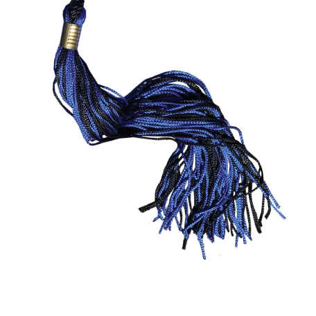 blue and black graduation tassel with gold band